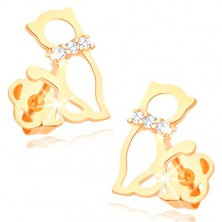 Earrings made of yellow 14K gold - contour of cat with diamond collar