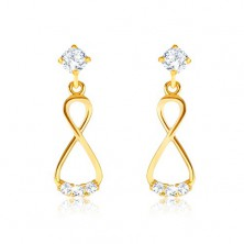 Brilliant 585 gold earrings - dangling eight, clear diamonds