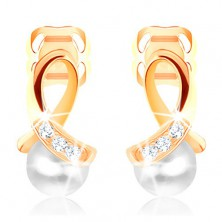 Earrings made of yellow 14K gold - shiny loop adorned with diamonds, round pearl
