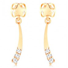 585 gold earrings - shiny comet decorated with clear diamonds
