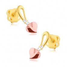 Brilliant earrings - 14K yellow and pink gold, heart on stem, diamonds