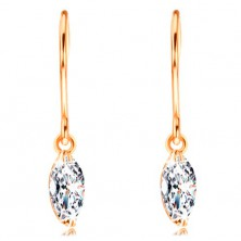 Earrings made of yellow 14K gold - glistening grain diamond in clear colour