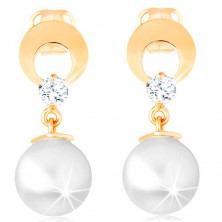 585 gold earrings - circle with cutout and clear diamond, dangling white pearl