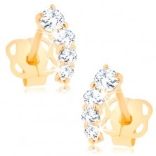 Brilliant 585 gold earrings - shimmering arc composed of clear diamonds