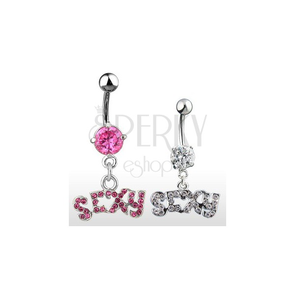 Belly button ring - zirconic SEXY inscription