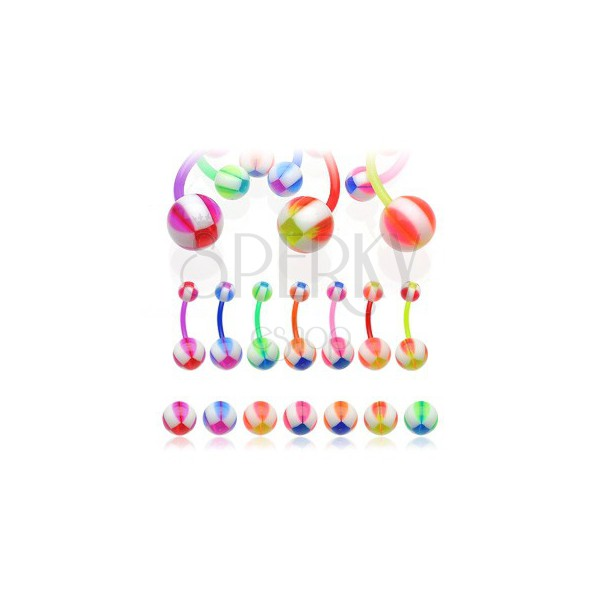 Multicolour ball belly ring