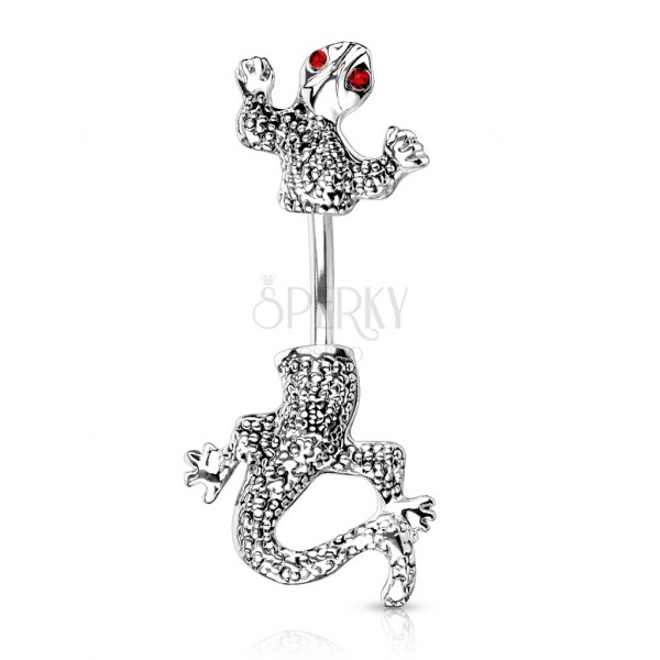 Crawling chameleon belly ring