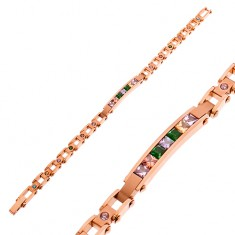 316L steel bracelet in copper colour, narrow plate and coloured zircons