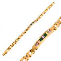 Steel bracelet in gold hue, narrow plate and coloured zircons