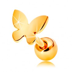 585 gold ear piercing - small flat butterfly with shiny surface