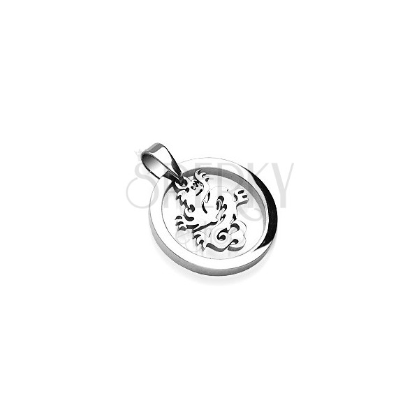 Stainless steel circle pendant with dragon