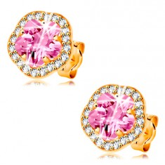 Earrings made of yellow 14K gold - shimmering pink-clear zircon flower