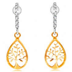 Earrings made of combined 14K gold- arc composed of clear zircons, tree of life