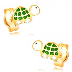 Earrings made of yellow 14K gold - small green-white turtle with black eye