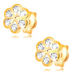 Earrings made of yellow 14K gold - flower with smooth contours and clear zircons