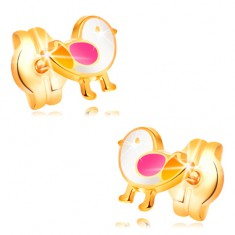 Earrings made of yellow 14K gold - bird adorned with white, pink and yellow glaze