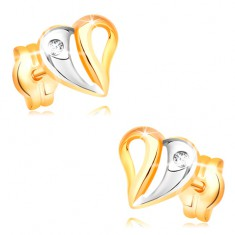 Earrings made of yellow and white 14K gold - bicoloured heart with cutouts and zircon
