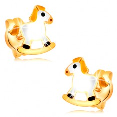 Stud earrings made of yellow 14K gold - white rocking horse with yellow mane