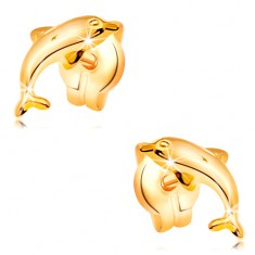 Earrings made of yellow 14K gold - jumping dolphin, shiny protruding surface