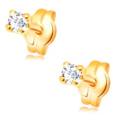 Earrings made of yellow 585 gold - round transparent zircon, 2 mm