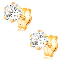 Earrings made of yellow 14K gold - round clear zircon, studs, 5 mm