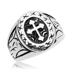 Ring in silver colour, surgical steel, big oval with cross bottony
