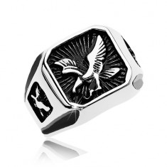 Massive ring made of 316L steel, black patinated square with bird of prey