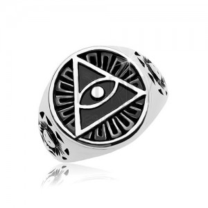 Ring made of 316L steel, black patinated circle and triangle with eye