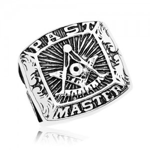 Ring made of surgical steel, freemason symbols and inscription, black patina