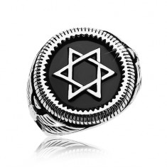 Massive ring in silver colour, 316L steel, Star of David in black circle