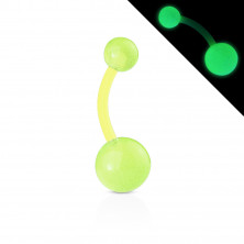 Bioflex belly button piercing – beads with small bubbles, glows in dark