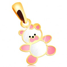 585 gold pendant - bear decorated with pink and white glaze