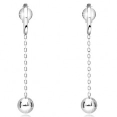 Dangling 585 gold earrings - shiny ball on chain, white gold, studs