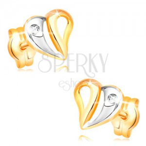 Brilliant earrings made of yellow and white 14K gold - heart with cutouts and diamond