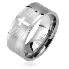 Steel ring, matt strip with shiny cross and the Lord's prayer, 6 mm