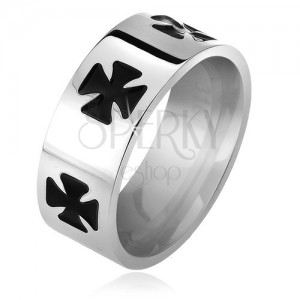 Ring made of 316L steel, black glazed Maltese cross, 6 mm