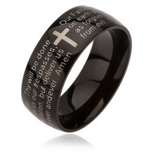 Black ring made of surgical steel, cross in silver colour, the Lord's prayer, 6 mm