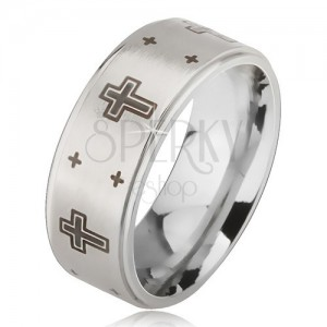 Ring made of 316L steel with matt centre and imprint of cross, silver colour, 6 mm