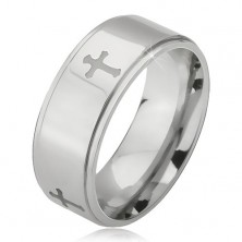 Steel ring in silver colour, engraved crosses and lowered borders, 6 mm