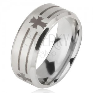 Ring made of 316L steel in silver colour, imprint of strips and crosses, 6 mm