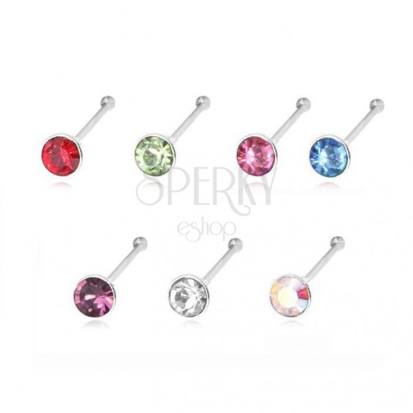 925 Silver Nose Piercing Ending In Ball And Round Zircon 1 8 Mm Jewellery Eshop Eu