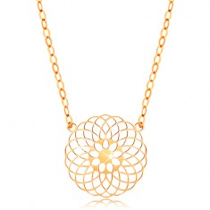 Necklace made of yellow 14K gold - round cutout flower, shiny chain