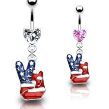 Belly ring with peace gesture in colours of American flag