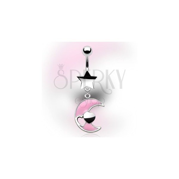 Belly button ring with dangle moon