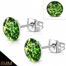 Earrings made of 316L steel - sparkly green glitters covered with clear glaze