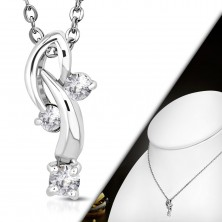 Necklace with pendant - three clear zircons on bent arcs