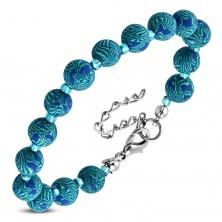 Blue bracelet, bigger patterned FIMO balls and tiny transparent beads