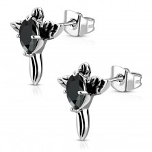 Steel earrings - patinated cross with black zircon and wings