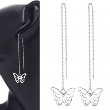 316L steel dangling earrings, silver shade, a thin chain with a butterfly