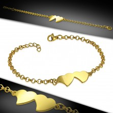 316L steel gold bracelet, shiny chain, two connected hearts